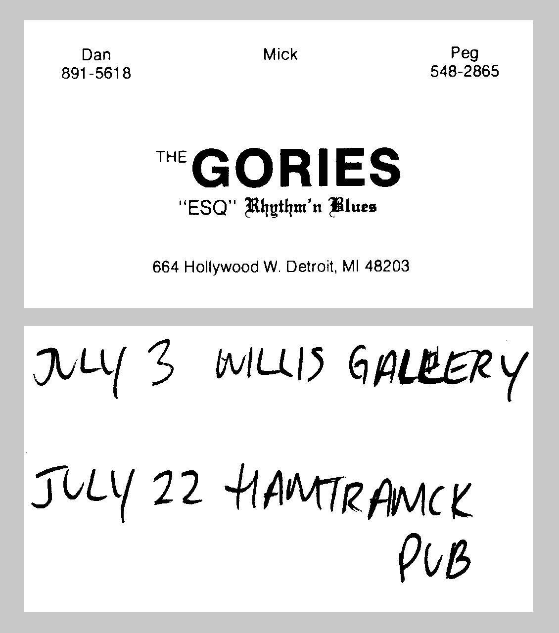 gories business card